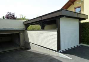 Carport braun-weiß