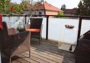 Balkon-Holzständer Glas-Sichtschutz