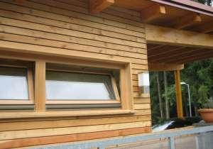 Holzfassade waagrecht montiert, Lärche natur