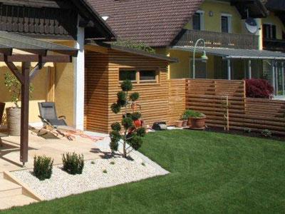 Gartenhaus Aus Holz Zur Erholung Fur Gartengerate Fur Mulltonnen
